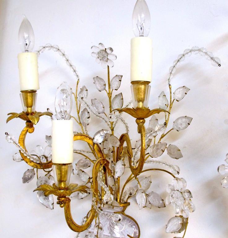 Pair of Maison Bagues Rock Crystal Floral Sconces 8