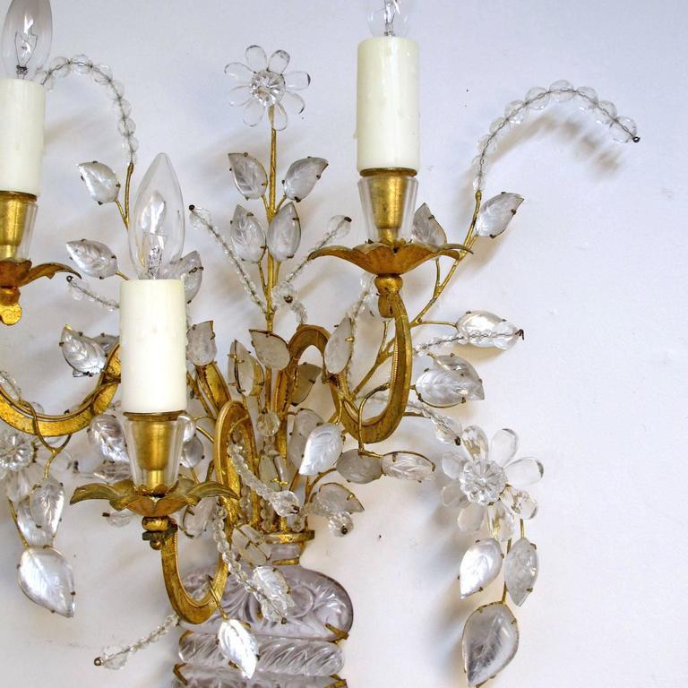 Pair of Maison Bagues Rock Crystal Floral Sconces 5