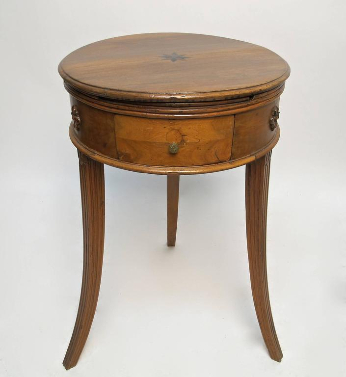Round Walnut Side Table With Ebony And Satinwood Inlay On The Top Reeded Edge