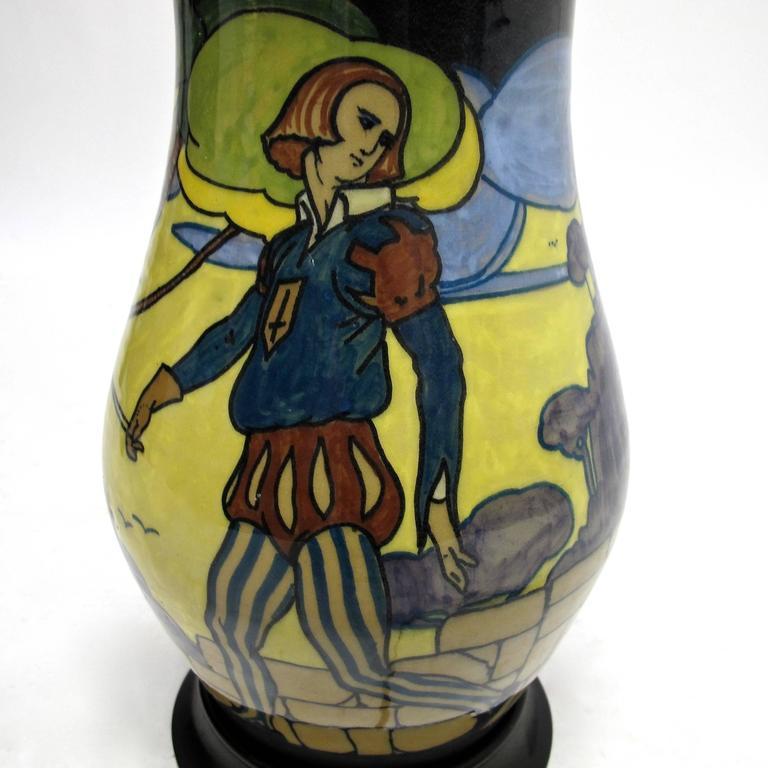 Glazed Palatino Art Deco Style Italian Pottery Lamp For Sale