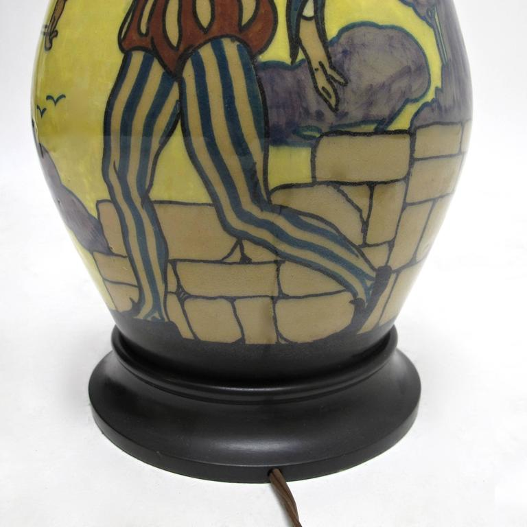 Palatino Art Deco Style Italian Pottery Lamp In Excellent Condition For Sale In San Francisco, CA
