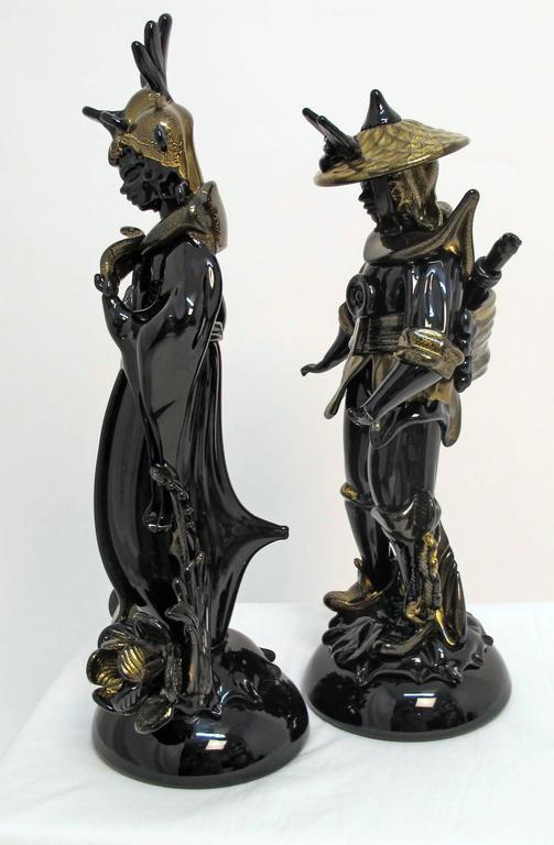 Italian Pair of Barovier Murano Glass Moorish Figures  For Sale
