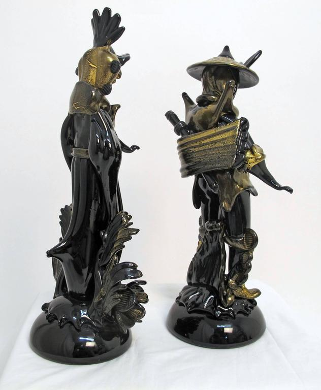 Pair of Barovier Murano Glass Moorish Figures  In Excellent Condition For Sale In San Francisco, CA