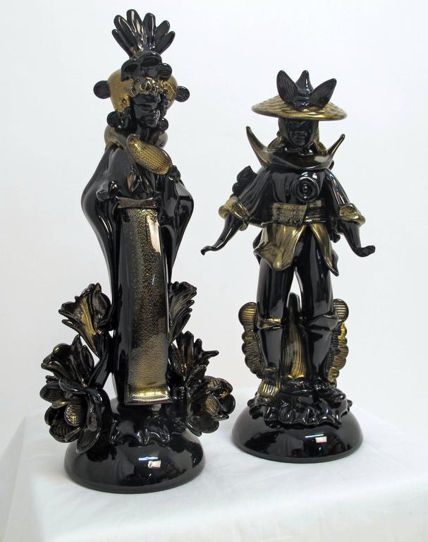 Pair of Barovier Murano Glass Moorish Figures  For Sale 2