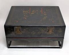 Chinese 19th Century Lacquered Robe Trunk on Later Custom Stand as Coffee Table