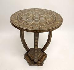 Syrian Tabouret with Inlay of Ebony, Mother-of-Pearl, Early 20th Century