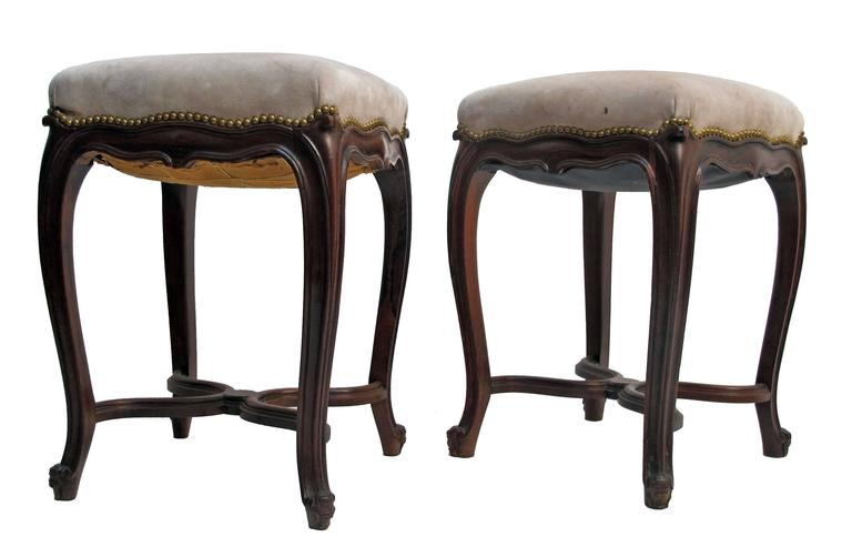 Carved Louis XV Style Rosewood Tabouret Stools, French 19th Century For Sale