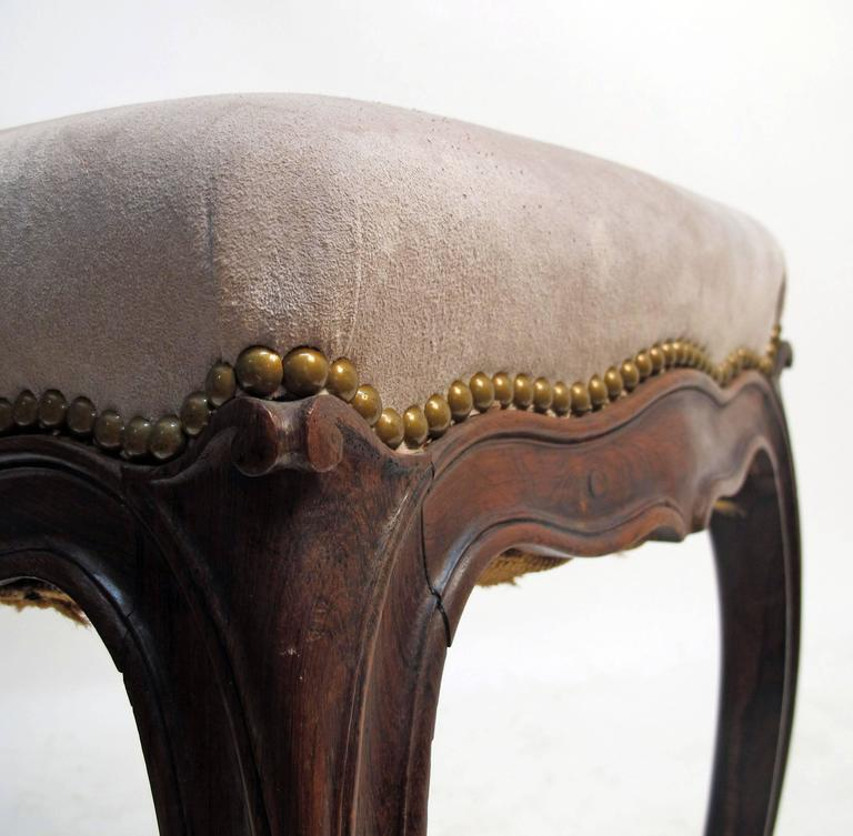 Louis XV Style Rosewood Tabouret Stools, French 19th Century In Excellent Condition For Sale In San Francisco, CA