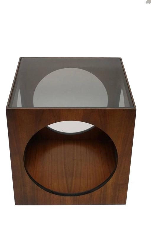 American Mid-Century Walnut Geometric Cube Side Table For Sale