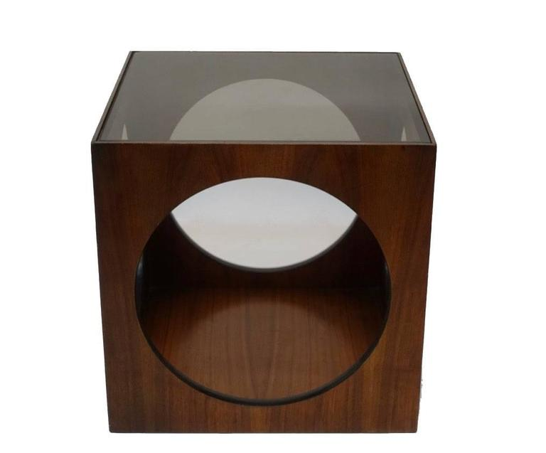 Mid-Century Walnut Geometric Cube Side Table 2