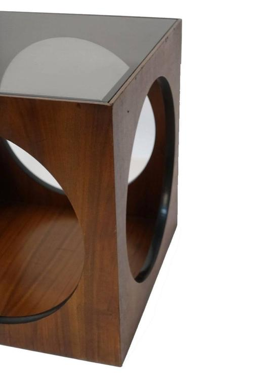Mid-Century Walnut Geometric Cube Side Table In Good Condition For Sale In San Francisco, CA