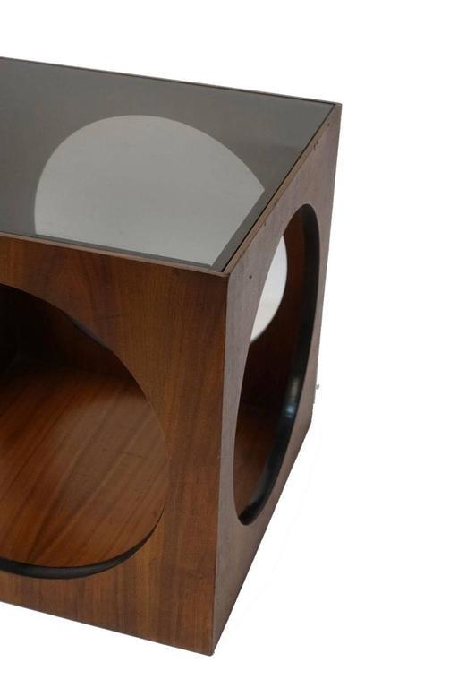 20th Century Mid-Century Walnut Geometric Cube Side Table For Sale
