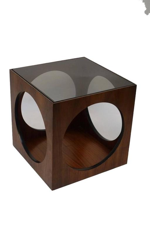 Mid-Century Walnut Geometric Cube Side Table 3