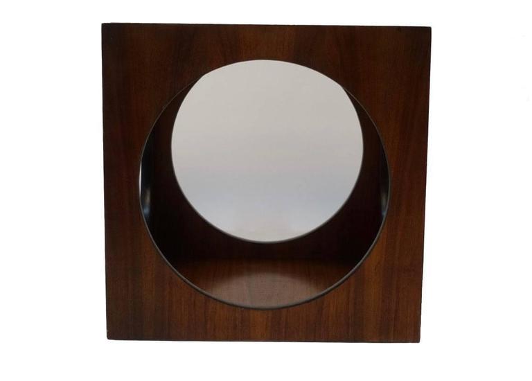 Glass Mid-Century Walnut Geometric Cube Side Table For Sale