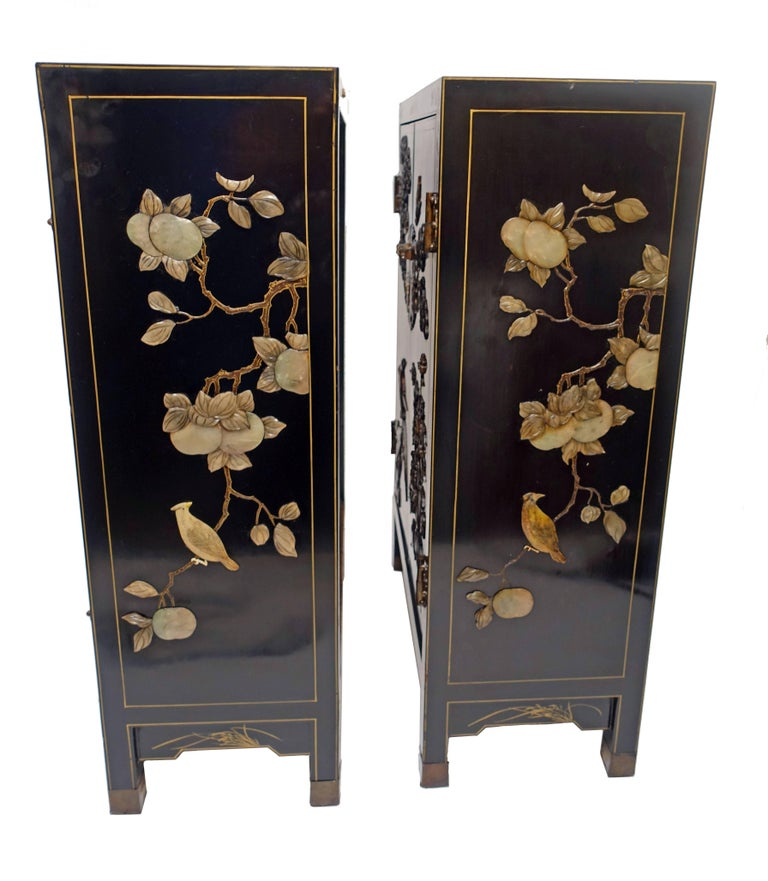 20th Century Pair of Chinese Black Lacquer Cabinets with Hardstone Inlay For Sale