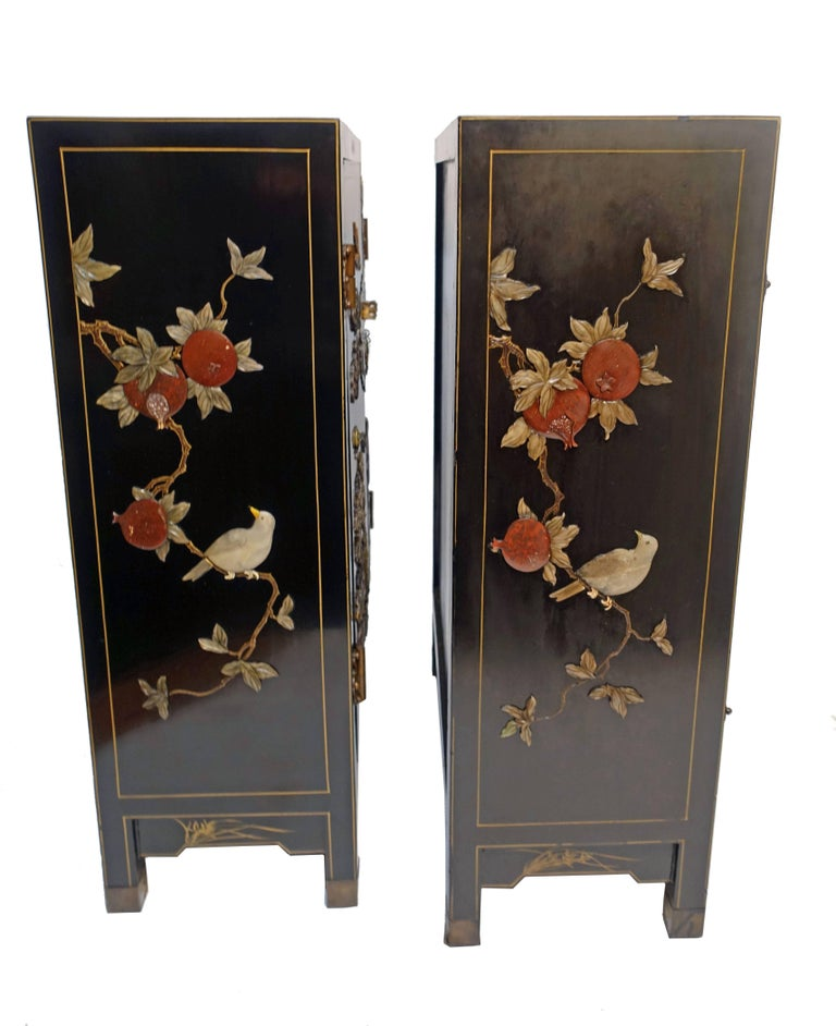 Pair of Chinese Black Lacquer Cabinets with Hardstone Inlay For Sale 1