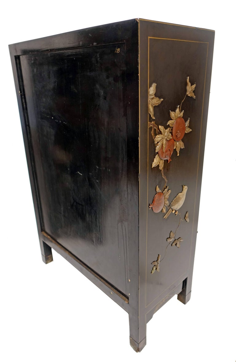 Pair of Chinese Black Lacquer Cabinets with Hardstone Inlay For Sale 5