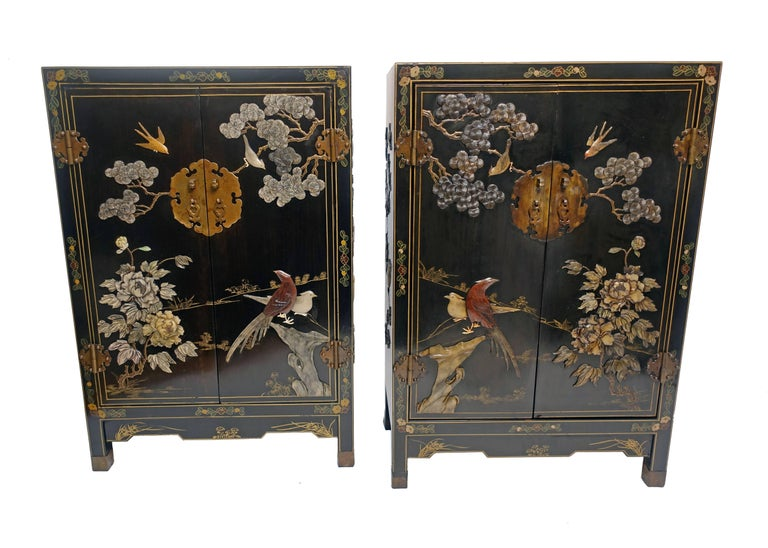 Pair of Chinese Black Lacquer Cabinets with Hardstone Inlay In Excellent Condition For Sale In San Francisco, CA