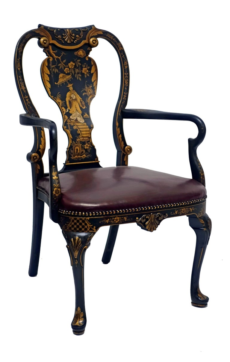 Queen Anne Style Chinoiserie Armchair Desk Chair 3