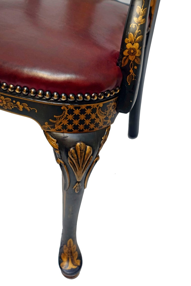 Queen Anne Style Chinoiserie Armchair Desk Chair 7