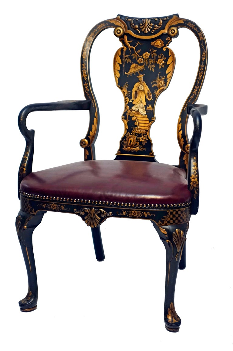 Queen Anne Style Chinoiserie Armchair Desk Chair 2