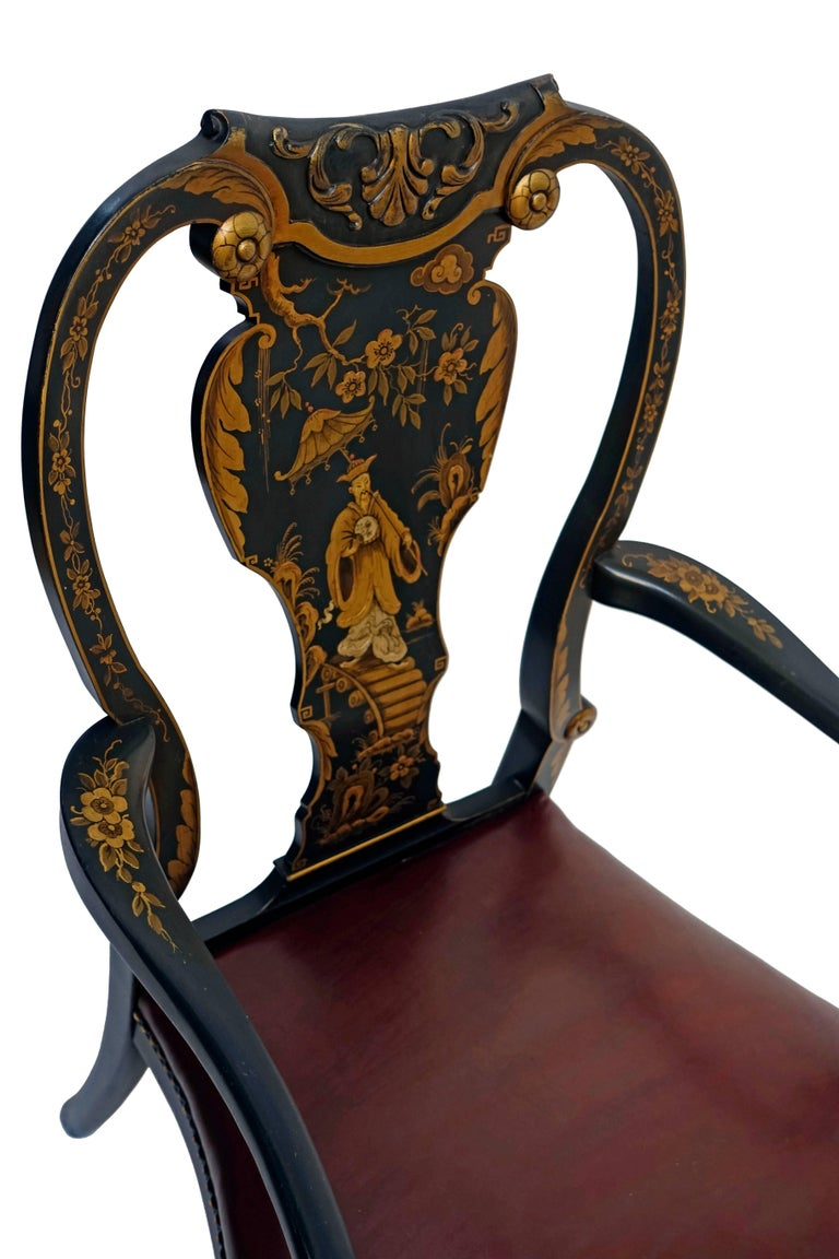 Queen Anne Style Chinoiserie Armchair Desk Chair 5