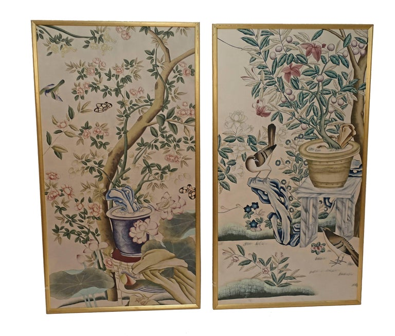 Framed wall paper panels, China, early 20th century.