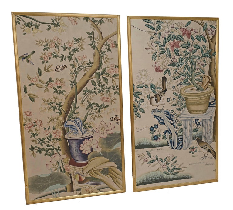 Chinese Wall Paper Panels In Excellent Condition For Sale In San Francisco, CA