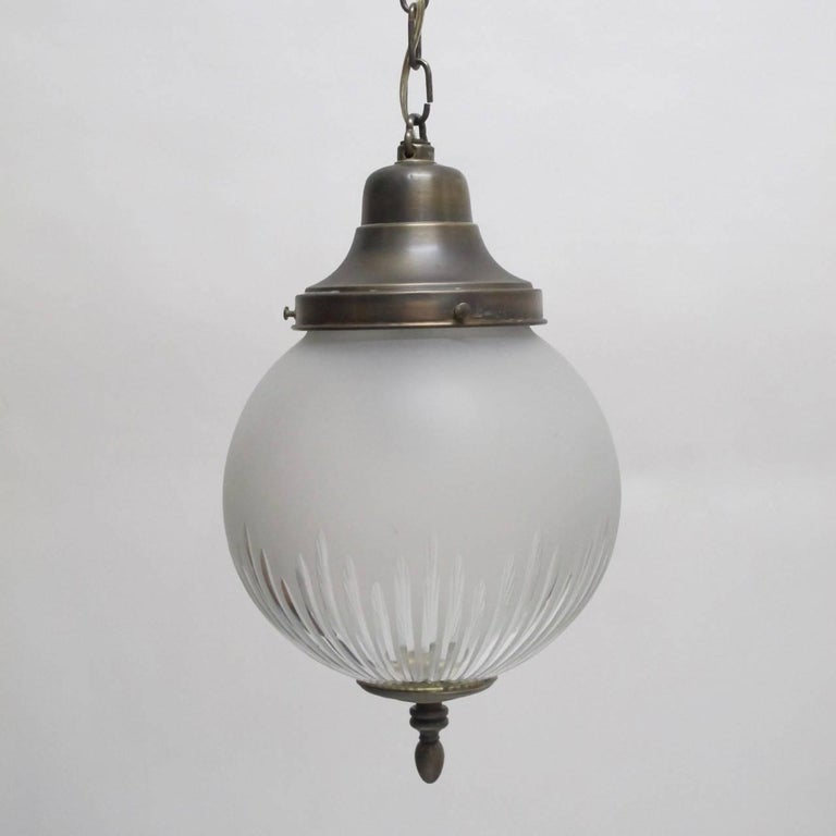 Etched Frosted and Cut-Glass Pendant Light Fixture, American Early 20th Century For Sale