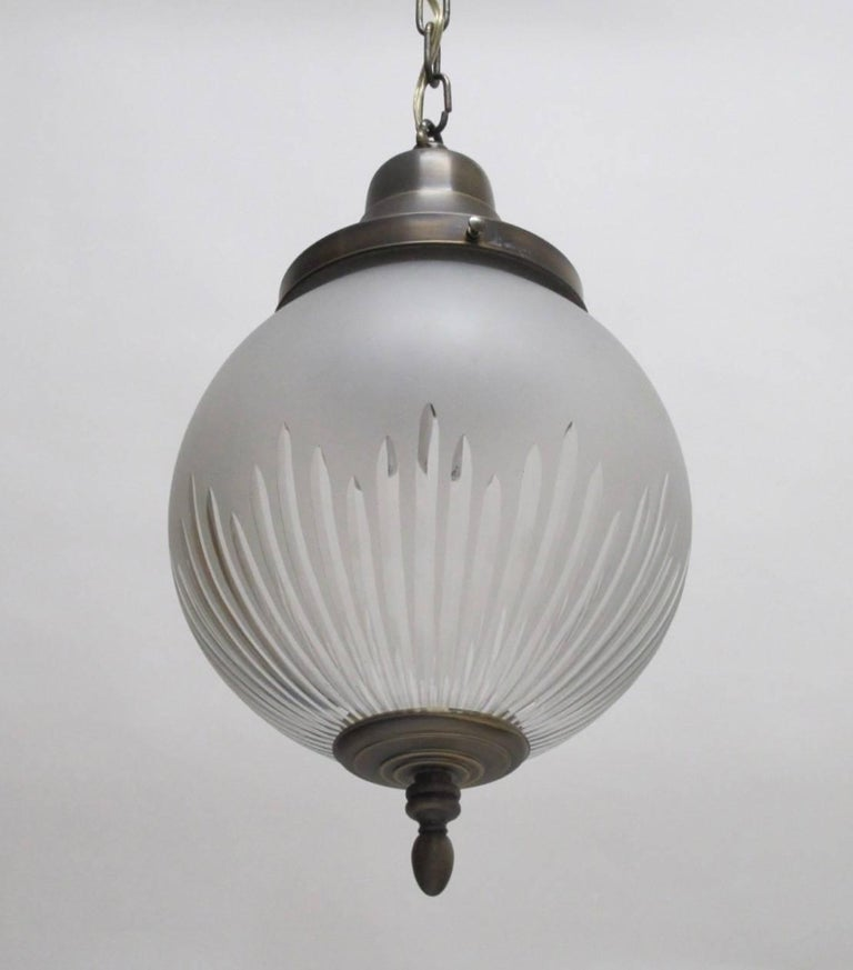 Frosted and Cut-Glass Pendant Light Fixture, American Early 20th Century In Excellent Condition For Sale In San Francisco, CA