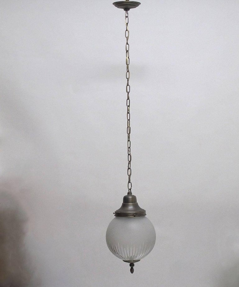 Frosted and Cut-Glass Pendant Light Fixture, American Early 20th Century For Sale 2