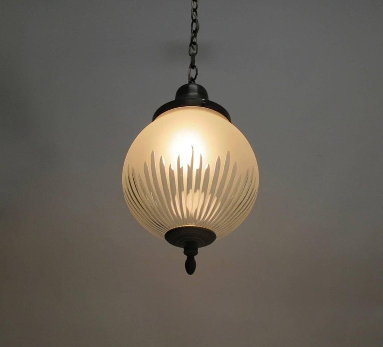 Frosted and Cut-Glass Pendant Light Fixture, American Early 20th Century For Sale 1