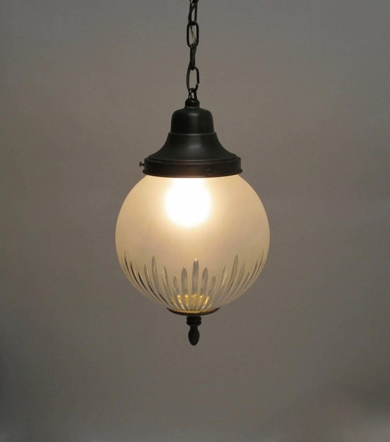 Frosted and Cut-Glass Pendant Light Fixture, American Early 20th Century For Sale 3