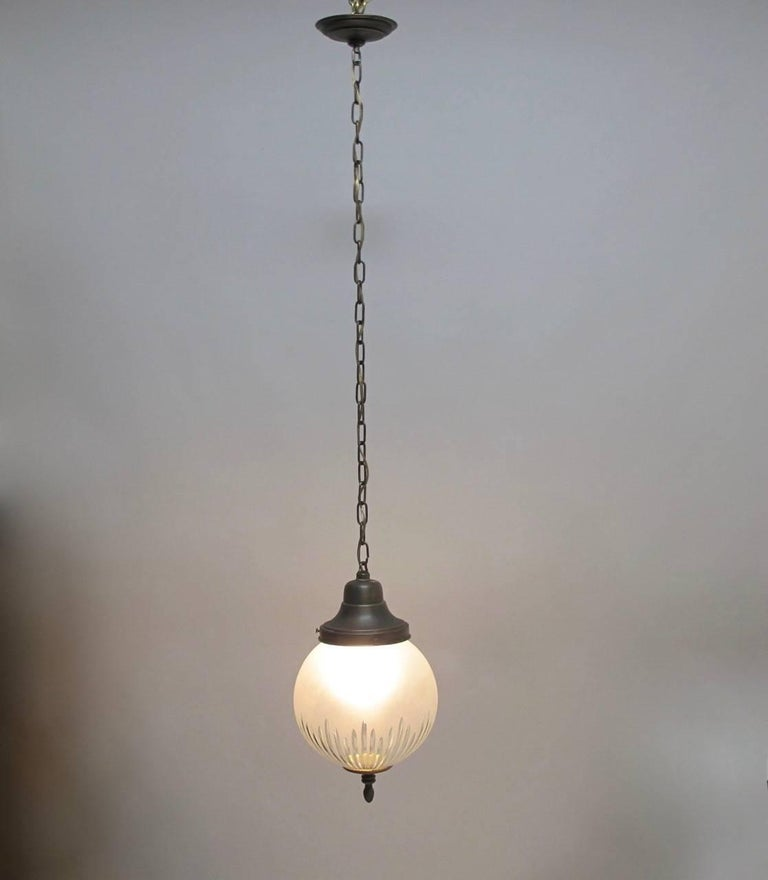 Frosted and Cut-Glass Pendant Light Fixture, American Early 20th Century For Sale 4