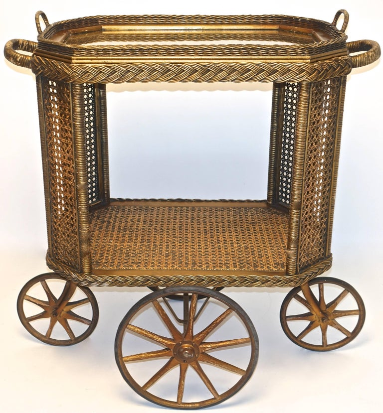 Gilt Heywood Bros. Wakefield Co Drinks Cart, Original For Sale