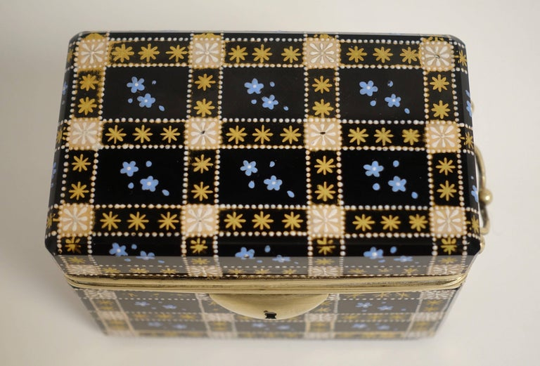 Brass Antique Moser Glass and Enamel Box For Sale