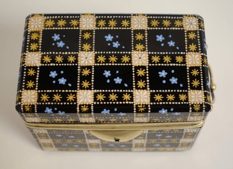 Enameled Antique Moser Glass and Enamel Box For Sale