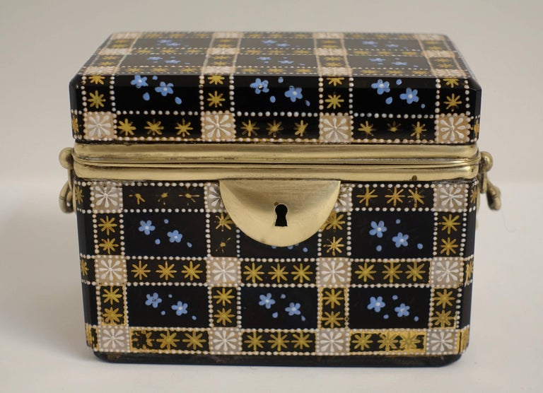 Austrian Antique Moser Glass and Enamel Box For Sale
