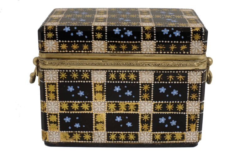 19th Century Antique Moser Glass and Enamel Box For Sale