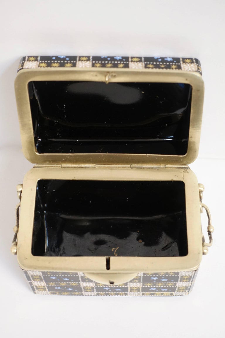 Antique Moser Glass and Enamel Box For Sale 1