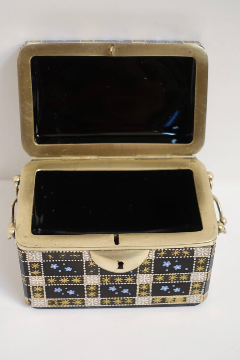 Antique Moser Glass and Enamel Box For Sale 2