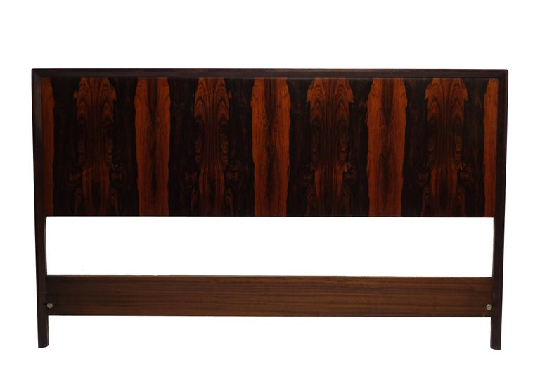 A striking bookmatched rosewood queen-size headboard framed in walnut. Original label on the reverse reads Westnofa Furniture, made in Norway, midcentury, Norway.