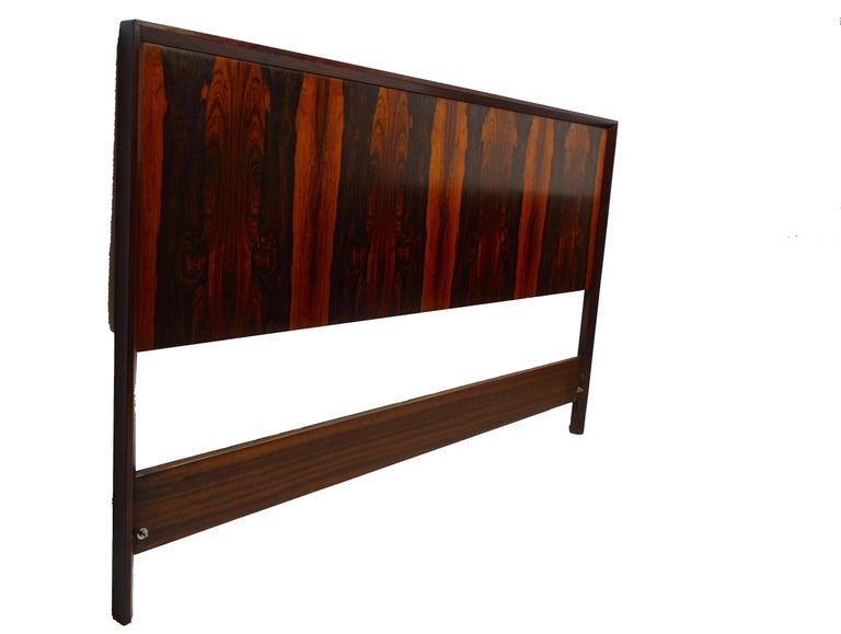 Norwegian Midcentury Queen Size Rosewood Headboard Westnofa of Norway For Sale