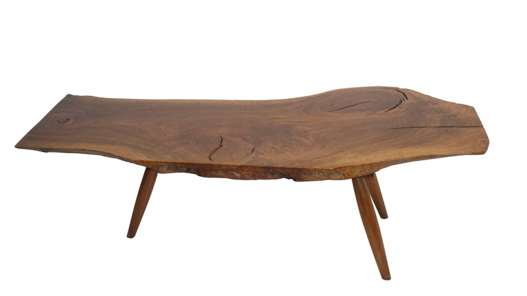 Mid-Century Walnut Plank Coffee Table For Sale 1