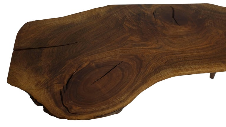 Hand-Crafted Mid-Century Walnut Plank Coffee Table For Sale