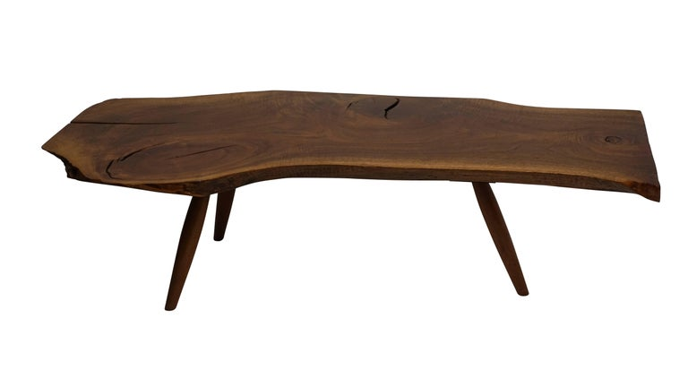 American Mid-Century Walnut Plank Coffee Table For Sale
