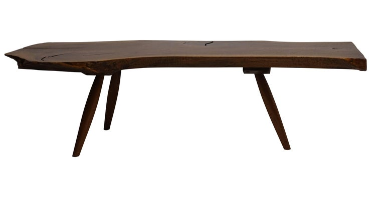 20th Century Mid-Century Walnut Plank Coffee Table For Sale