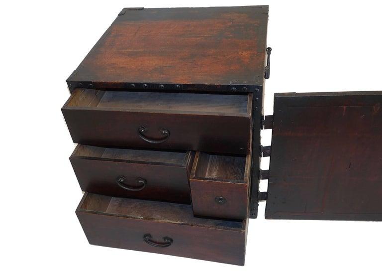 19th Century Japanese Kakesuzuri Funa Dansu Sea Chest with Iron Hardware For Sale 1