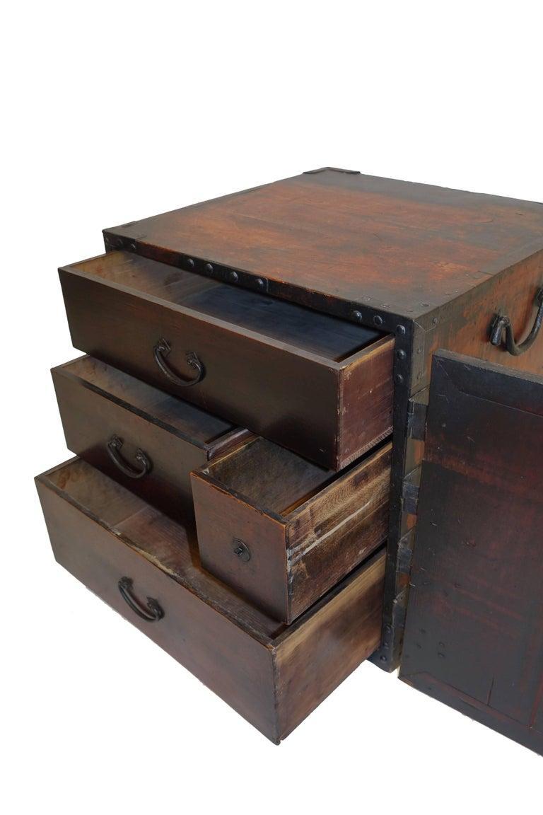 19th Century Japanese Kakesuzuri Funa Dansu Sea Chest with Iron Hardware For Sale 4