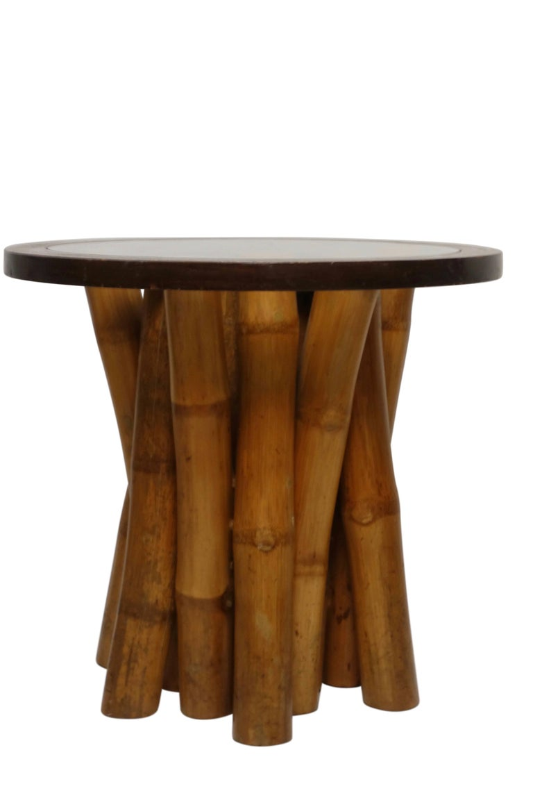 Mid-Century Modern Mid Century Round Bamboo and Glass Side Table, Organic Modern circa 1970 For Sale